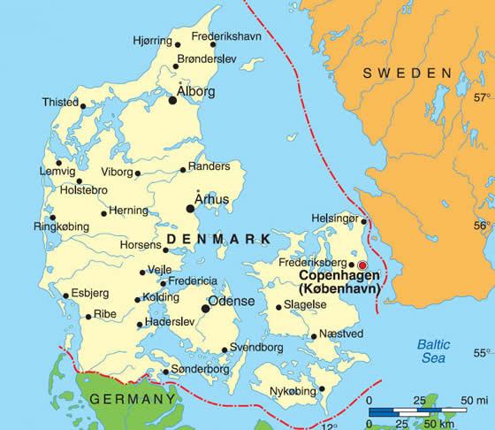 Mapa Danii - stolica Danii Kopenhaga i najwazniejsze dunskie miasta
